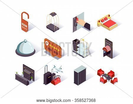 Hotel Infrastructure Isometric Icons Set. Hotel Booking And Review, Reception Desk, Restaurant, Lobb