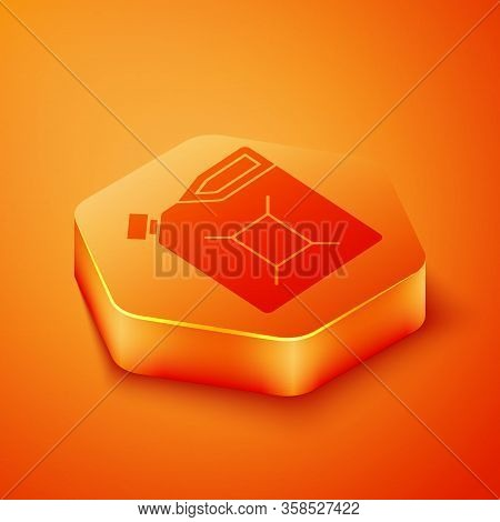 Isometric Canister For Gasoline Icon Isolated On Orange Background. Diesel Gas Icon. Orange Hexagon