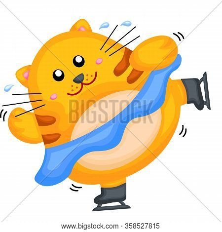 A Yellow Fat Cat Playing Ice Skating