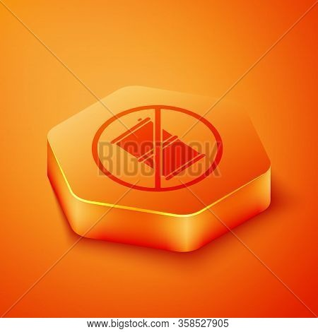 Isometric No Barrel For Gasoline Icon Isolated On Orange Background. Diesel Gas Icon. Orange Hexagon
