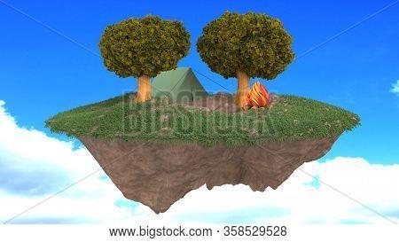 3d render of a cartoon floating fantasy island cap site