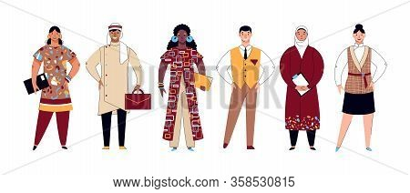Diversity Set - Cartoon Diverse Group Of People In Ethnic Clothes