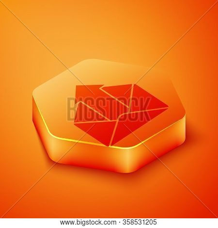 Isometric Outgoing Mail Icon Isolated On Orange Background. Envelope Symbol. Outgoing Message Sign.