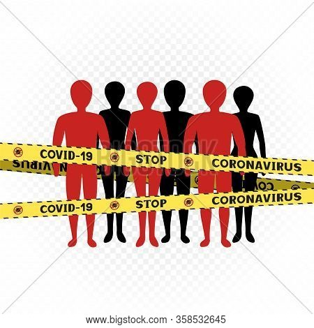 People Behind The Coronavirus Zone Tape On White Transparent Background. Covid-19 Crowd Spreading Pe