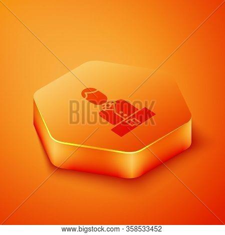 Isometric Casino Dealer Icon Isolated On Orange Background. Casino Croupier. Orange Hexagon Button.