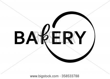 Hand Sketched Bakery Lettering Typography Isolated On White Background. Concept For Bakery, Market,