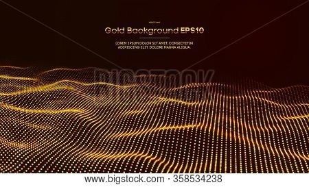 Luxurious Colors. Black And Gold Christmas Background With Abstract Light Flowblack. Golden Design.