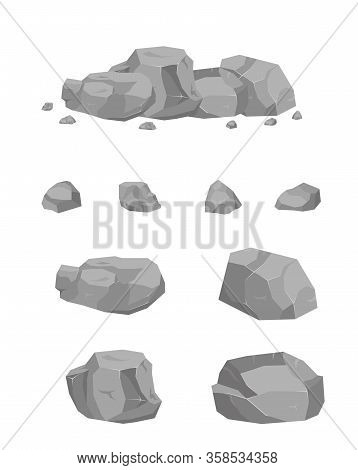 A Collection Of Stones In The Style Of 3d Isomerism. Stones Of Different Shapes For Web Design. Ston