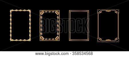 Set Of Decorative Vintage Frames And Borders Set, Gold Photo Frame With Thailand Floral Corner Line
