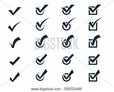 Check Mark Icon Set, Vector Black Confirm Symbol. Conceptual To Confirm Acceptance Of A Positive Pas