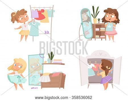 Girl Dressing Up. Mother And Daughter Choice Clothes In Wardrobe Vector Female Person Vector Cartoon