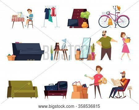 Garage Selling. Flea Marketplace With Clothes And Home Vintage Items Many Furniture Old Books Toys V