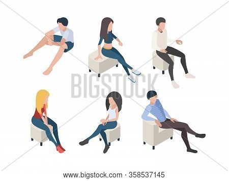Sitting People. Characters In Couch Armchairs Humans Male And Female Persons In Relax Poses Vector I