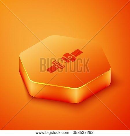 Isometric Safety Belt Icon Isolated On Orange Background. Seat Belt. Orange Hexagon Button. Vector I