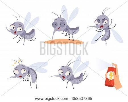 Mosquito Cartoon. Warning Flying Insects Dangerous Little Animals Vector Illustrations. Insect Anima