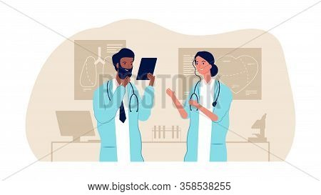Doctorc Couple. Interracial Male Female Nurses, Medical Staff. Hospital Team, Research Scientists Ve
