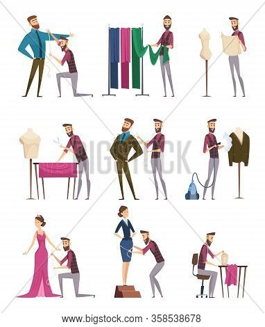 Tailor Characters. Fabric Sewing Workings In Atelie Dressmaker People Vector Cartoon Illustrations.