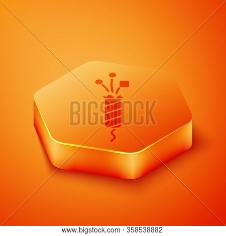 Isometric Firework Rocket Icon Isolated On Orange Background. Concept Of Fun Party. Explosive Pyrote