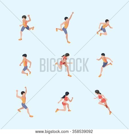 Marathon Runners. Sport Healthy Lifestyle People Running Vector Isometric Characters. Run Girl And B