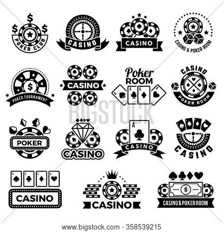 Casino Emblems. Labels For Poker Club Game Tournament Symbols Gambling Cards Chips And Dice Vector C