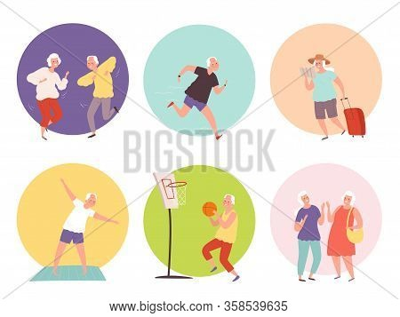 Old People Lifestyle. Happy Elder Persons Seniors Healthy Activities. Vector Characters Action Poses