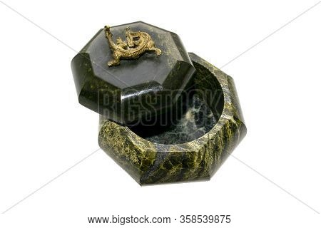 Malachite Casket Isolated On White Background. Round Opened Malachite Box For Jewelry. Top View