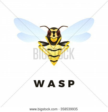 Wasp Cartoon Illustration Isolated On White Background. Predatory Insect. Yellow Striped Wasp. Vecto