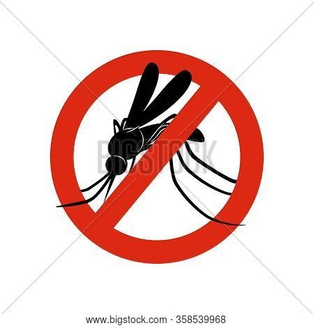 Mosquito Sign. Attention Symbols Insects In Red Circle Poison For Mosquitos Warning Vector Concept P