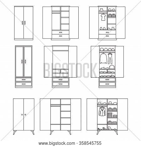 Wooden Cupboard Isolated Outline Icon. Vector Illustration Room Furniture Of Wardrobe On White Backg