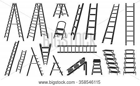 Stair Vector Black Set Icon.vector Illustration Staircase On White Background .isolated Black Set Ic