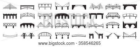 Bridge Of Construction Vector Black Set Icon.vector Illustration River Architecture On White Backgro