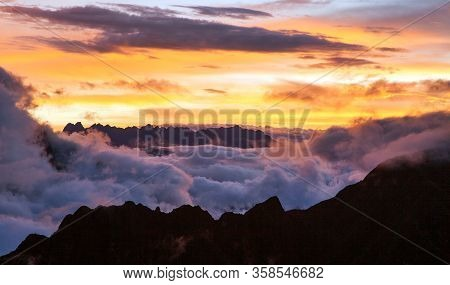Evening Sunset Cloudscape View From Peruvian Andes, Choquequirao Trekking Trail