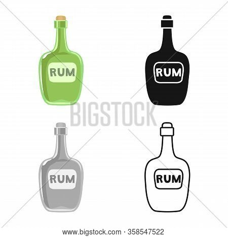 Vector Design Of Bottle And Rum Symbol. Web Element Of Bottle And Bourbon Vector Icon For Stock.