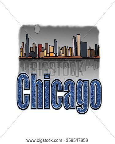 Chicago Illinois Graphic Illustration Skyline Of This Midwest American City.  Blue Sparkly Glitter T