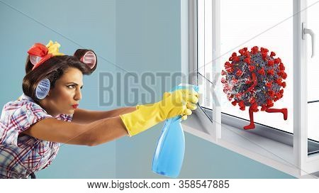 Funny Housewife Cleans And Disinfects To Keep Virus Away