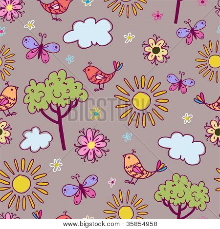 Seamless texture with birds and flowers.