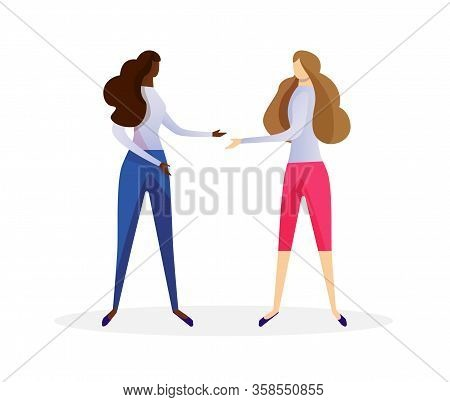 Couple Of Multiracial Young Women In Casual Clothing Shaking Hands Isolated On White Background. Afr