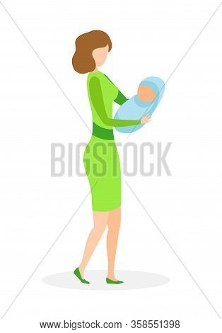 Adult Lady With Infant Flat Vector Illustration. Mother In Casual Dress And Little Baby Cartoon Char