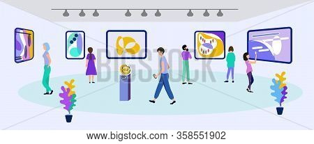 Art Gallery With Abstract Paintings Exhibition. Cartoon People Characters Visit Museum With Creative