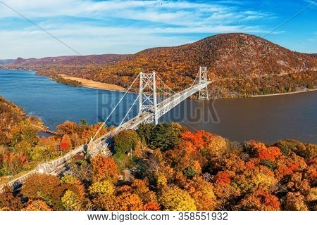Beautiful foliage in Fall aerial view in USA