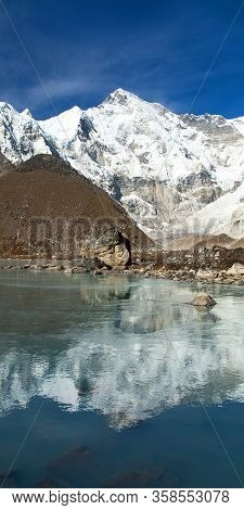 Mount Cho Oyu Reflecting In Lake - Way To Cho Oyu Base Camp - Everest Area, Sagarmatha National Park