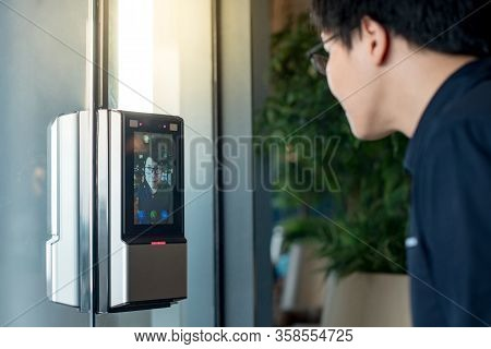 Authentication By Facial Recognition Concept. Biometric Admittance Control Device For Security Syste