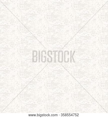 Natural Grey French Woven Linen Texture Background. Vintage Printed Doodle Shapes Seamless Pattern.