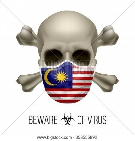 Human Skull With Crossbones And Surgical Mask In The Color Of National Flag Malaysia. Mask In Form O