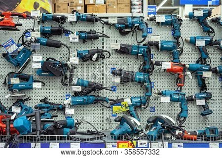 Minsk, Belarus - March 22, 2020: Large Selection Makita Industrial Tools In A Hardware Store. Makita