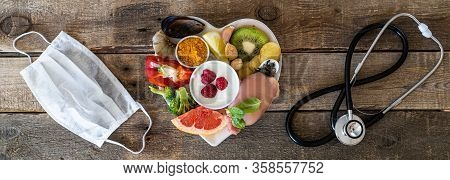 Selection Of Food To Boost Immune System - Healthy, Rich In Vitamin And Antioxidants, Copy Space