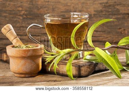 Aloysia Citrodora - Tea With Lemon Verbena. Text Space