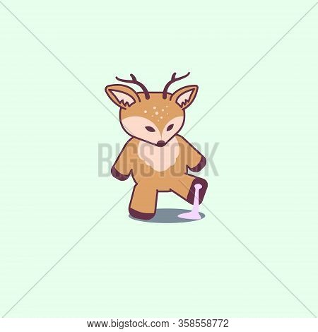Cute Deer Stuck In Bubblegum. Flat Cartoon Isolated Illustration, Logo, Icon. Useful For Print, T-sh