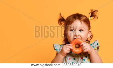 Ginger Toddler Girl With Two Ponytails, In Gray Polka Dot Dress And White Sandals. She Sitting On Fl
