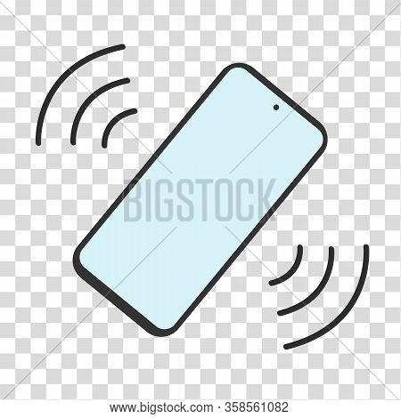 Phone Vibrate Flat Icon On Transparent Background. Smartphone With Blue Screen In Silent Mode. Symbo